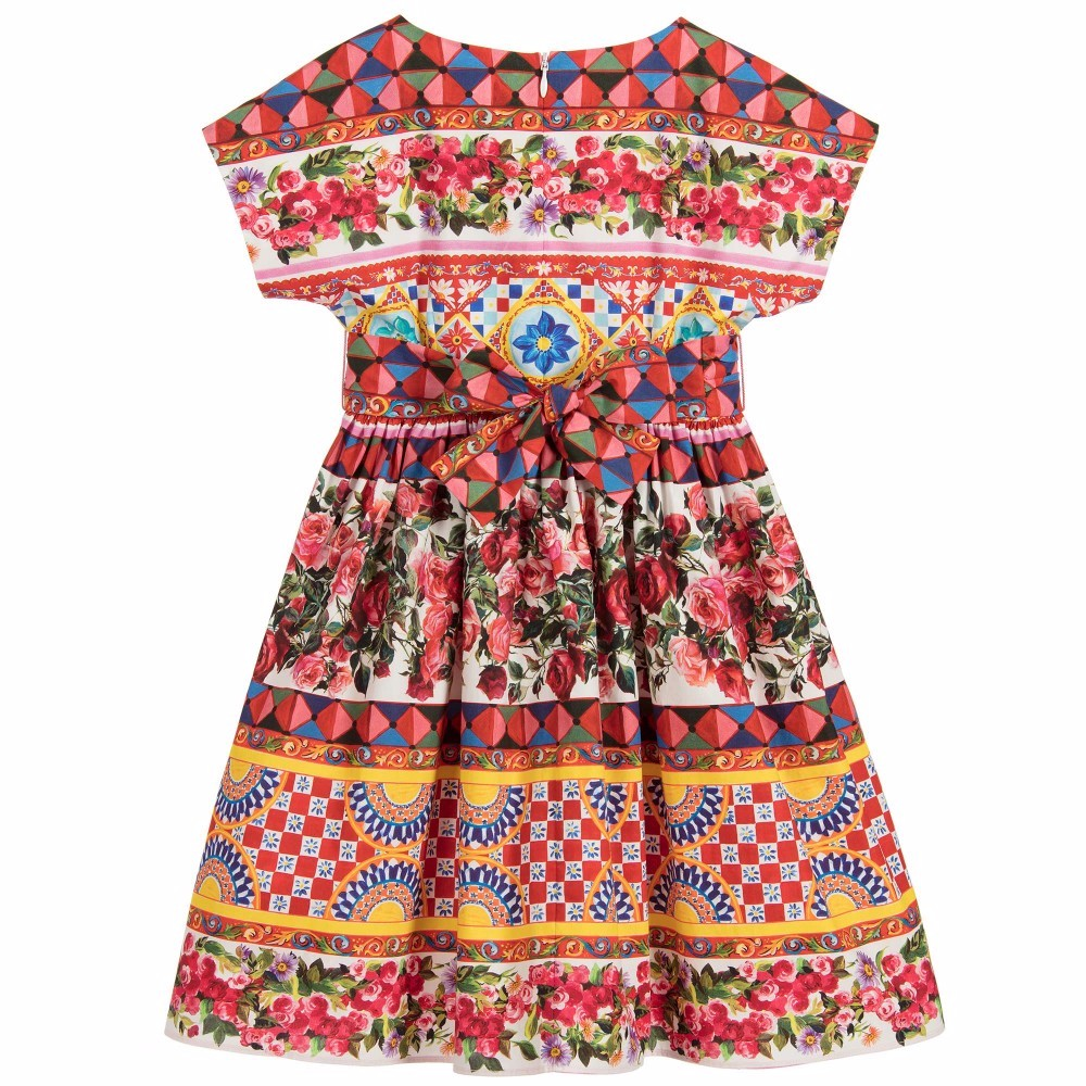 Girls Rose Dress Europe and America printing princess vest Dresses 2017