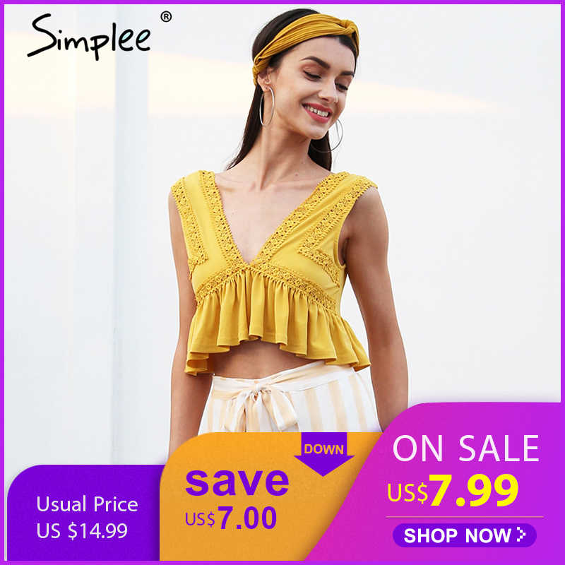 Simplee Sexy v neck chiffon camisole tank women Ruffle backless short shirt tee 2018 Summer casual streetwear lace crop top