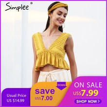8750993214a61 Simplee Sexy v neck chiffon camisole tank women Ruffle backless short shirt  tee 2018 Summer casual streetwear lace crop top
