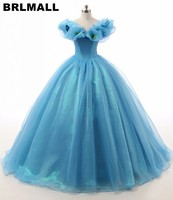 BRLMALL Princess Blue Quinceanera Dresses With Butterfly Sexy v neck Ball Gown Organza Sweet 16 Dress Floor Length Lace Up