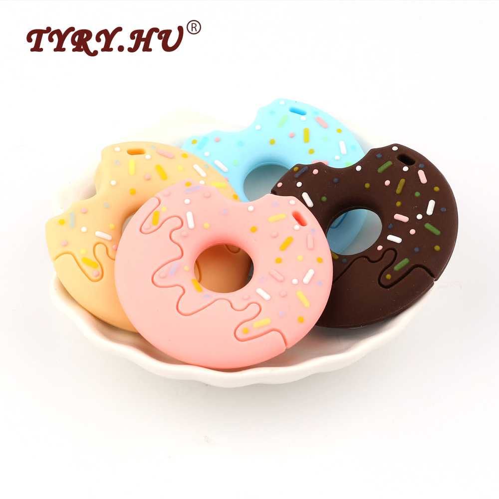 TYRY.HU 3Pcs Donuts Silicone Baby Teether Food Grade Silicone Teething bijtring Jewelry Charm Baby Tooth Care Necklace Making