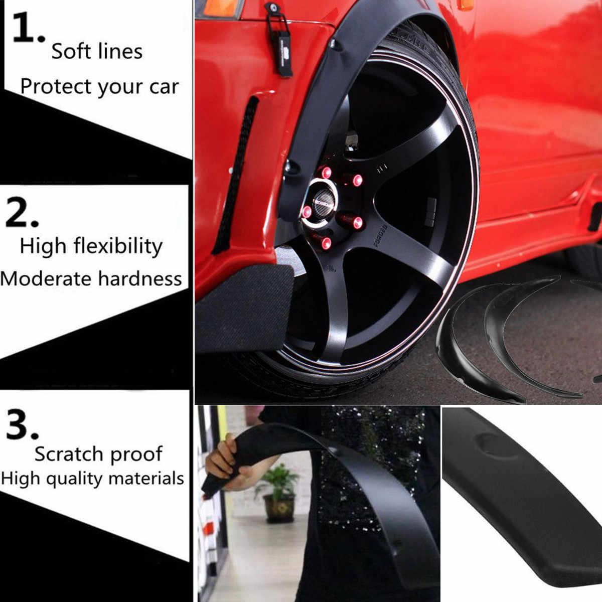 Embellecedor de arco de rueda par de molduras de arco de cejas de rueda de coche universales Protector de bengalas de guardabarros Material ABS