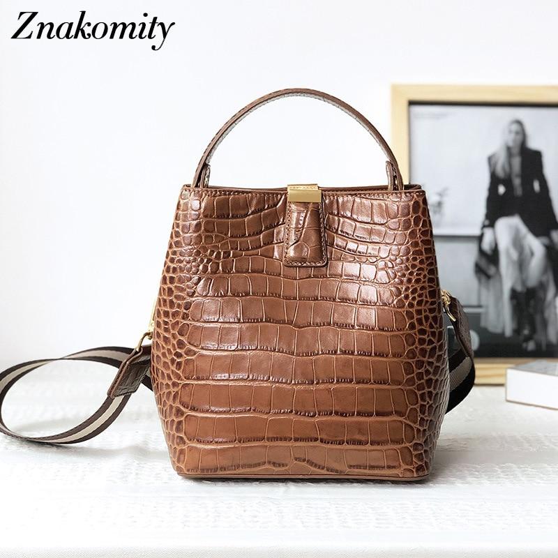 Znakomity Women Genuine Leather Handbags Retro Solid Bucket Shoulder Bags for Ladies Large Alligator Pattern Crossbody