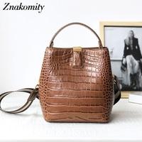 Znakomity Women Genuine Leather Handbags Retro Solid Bucket Shoulder Bags for Ladies Large Alligator Pattern Crossbody Bags 2019
