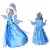 Kids Elsa Jurk Winter (jurk + cape + mouw) Lovertjes Kant Elsa Anna Cosplay Kostuum Elsa Vermomming Party Kids Jurk 2-7Year