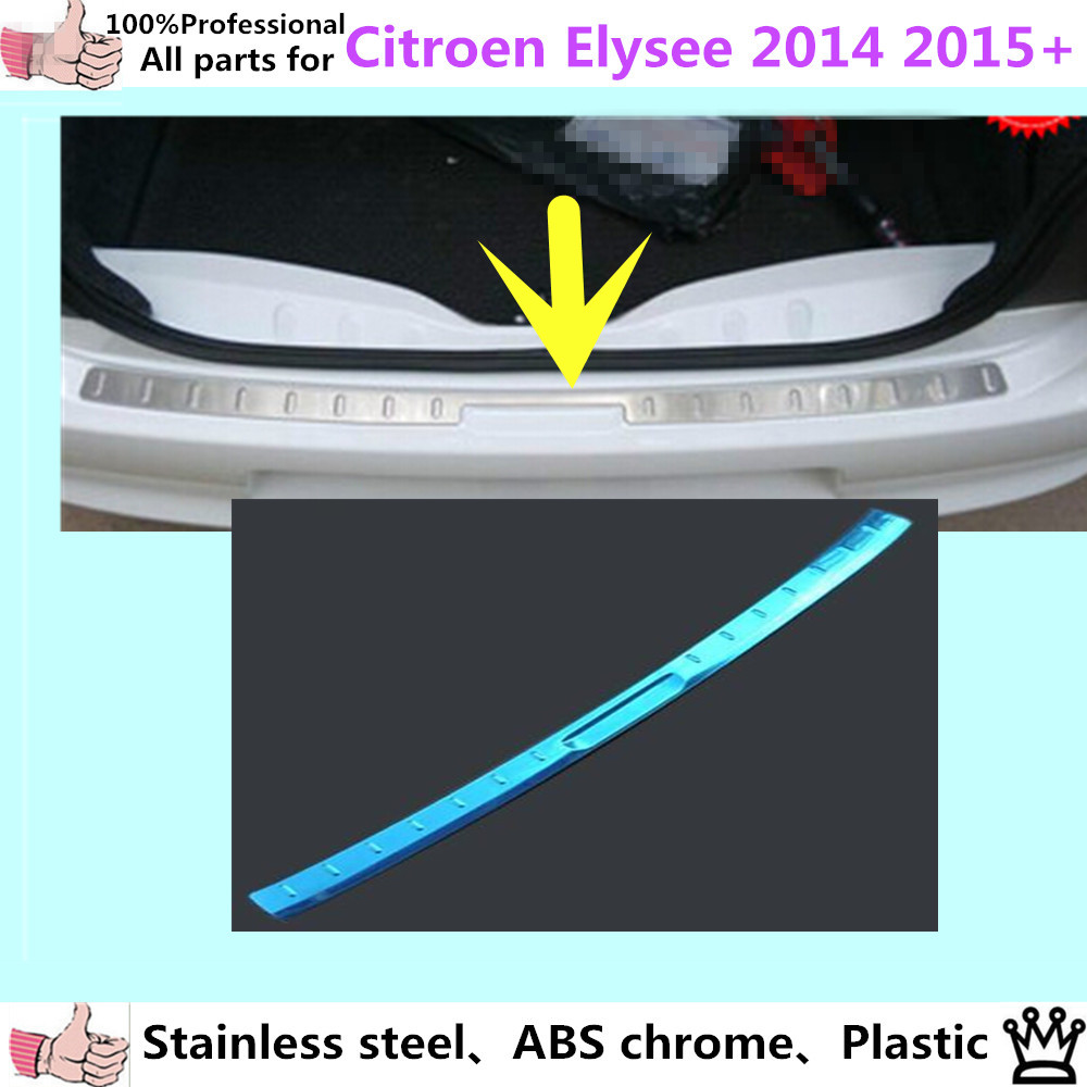 Car body External outside Rear Bumper trim styling cover detector Stainless Steel plate pedal 1pcs for Citroen Elysee 2014 2015+ high quality for qashqai 2016 car body styling cover detector abs chrome rear door bottom tailgate frame plate trim lamp 1pcs
