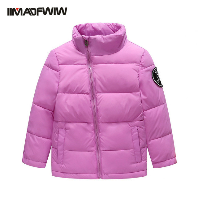 Kids Boys Girls Down Jacket Winter Coat Children Fashion Outerwear Stand Collar Solid Declining Zipper White Duck Down Jacket