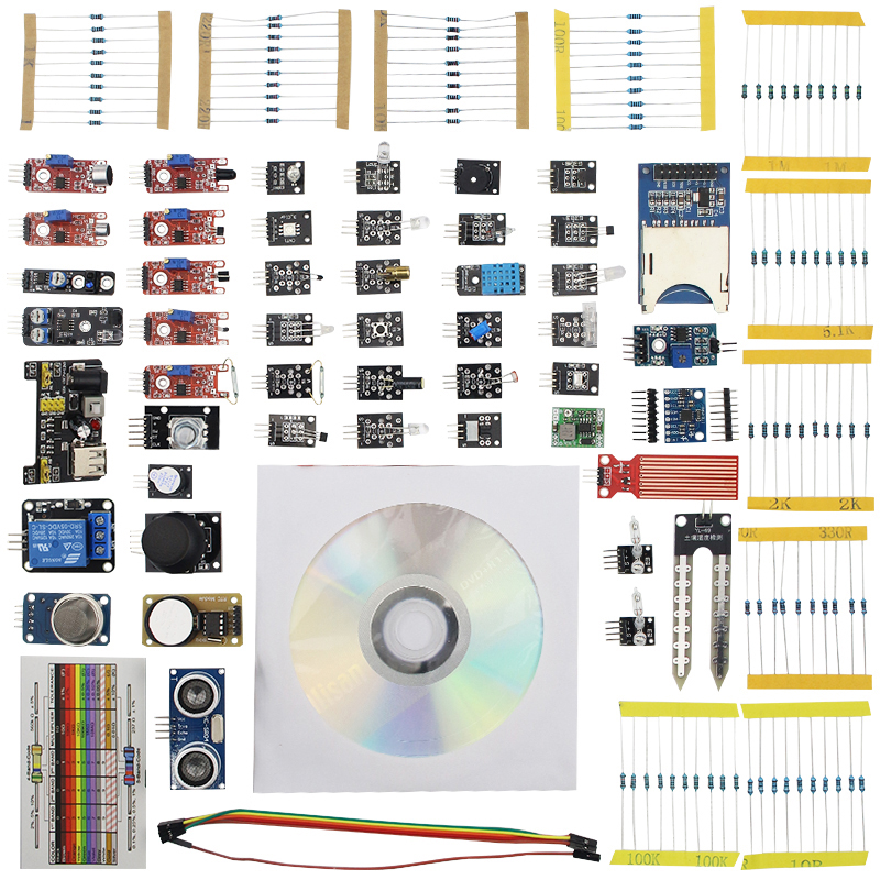 45 in 1 Raspberry Pi 3 Sensors Kit Robot Projects Starter Kits for UNO R3 for MEGA 2560 for Raspberry Pi 3 with Retail Box raspberry pi 3 light basic learning starter kit for diy resistors kit for uno r3 board
