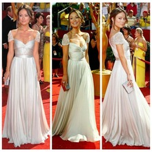 High Quality Scalloped Cap Sleeve White Silver Chiffon Cheap Celebrity Dresses Olivia Wilde Emmy Awards Red Carpet Dress