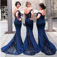 2018 Newest Sexy Navy Blue Mermaid Bridesmaid Dresses Long Wedding Party Gown Plus Size Honor Of Maid Dress Vestiti Da Damigella