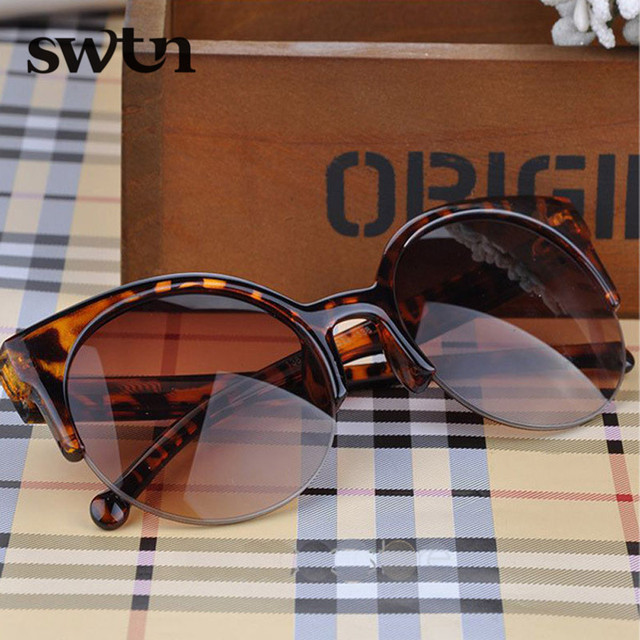 2015 Hot Selling Fashion Vintage Sunglasses Retro Cat Eye Semi-Rim Round Sunglasses for Men Women Sun Glasses Eyewear Eyeglasses