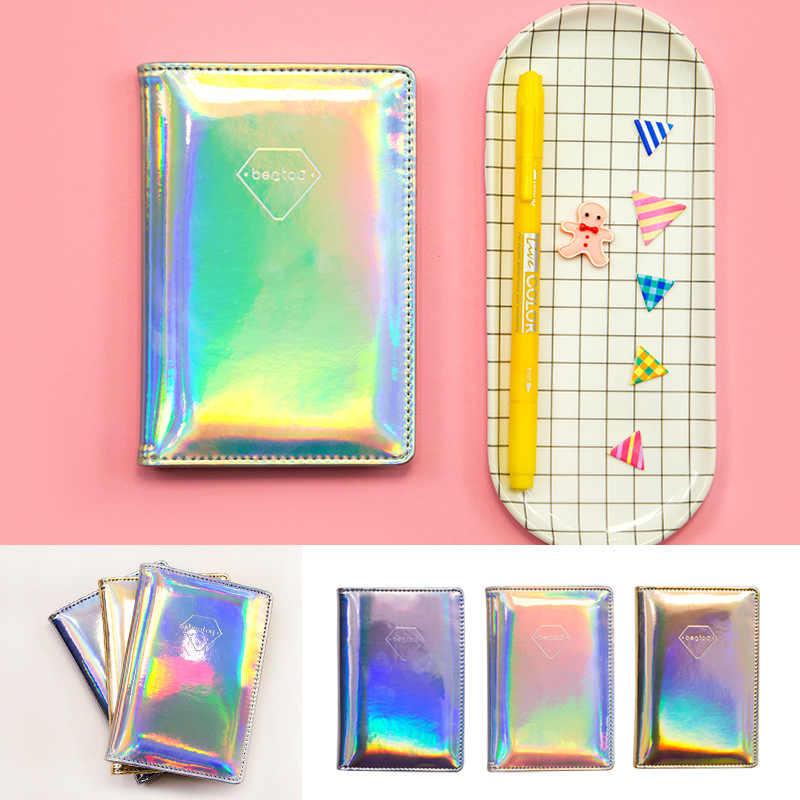 Ipnotica del passaporto cartella documenti titolare del passaporto di copertura in pelle di luce Laser di colore della caramella Fresca clip del supporto di carta del sacchetto semplice borsa cartella