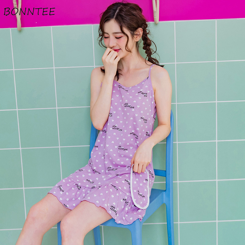 Nightgowns   Women Home Casual Lovely Comfortable Loose Womens Trendy Printed Students Nightdress   Sleepshirts   Summer New Chic 2019