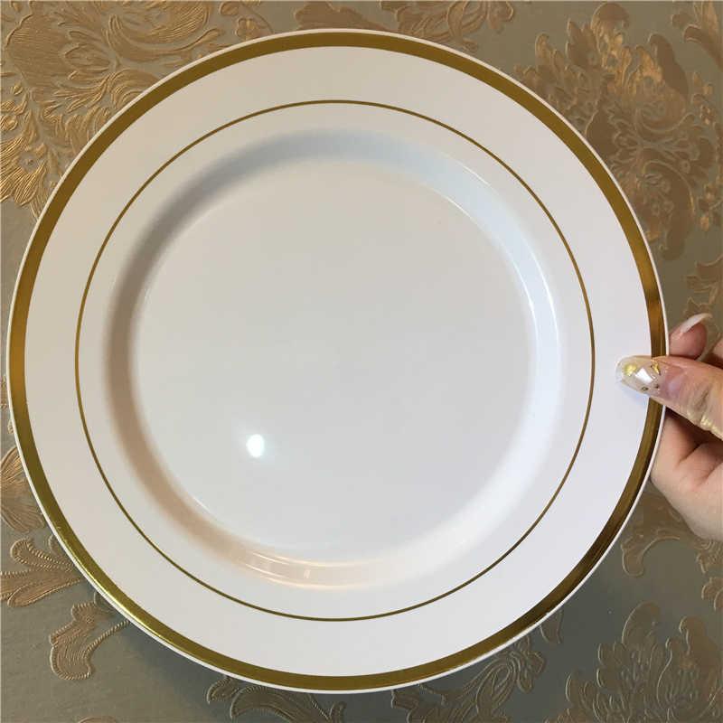 ทิ้ง Golden พลาสติกถาดผลไม้เค้กจานพลาสติก PP แผ่นชุดถาดเสิร์ฟถาดขนมขบเคี้ยวชุดอุปกรณ์
