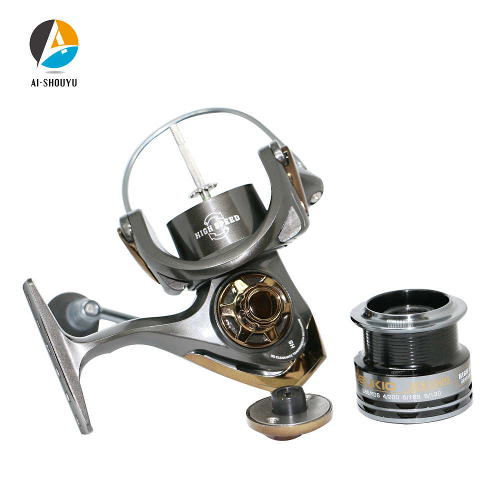 AI-SHOUYU عالية السرعة الصيد بكرات 7.1: 1 CNC الطعم للطي الروك الغزل عجلة الصيد بكرة Carpa Molinete دي Pesca