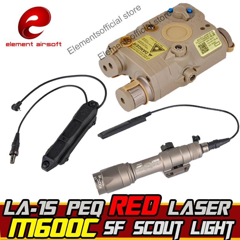 Element Airsoft SF M600C Arme light Scout IR Laser Led LA-15 PEQ Led Laser IR Double Contrôle Interrupteur tactique Arme lampe de poche