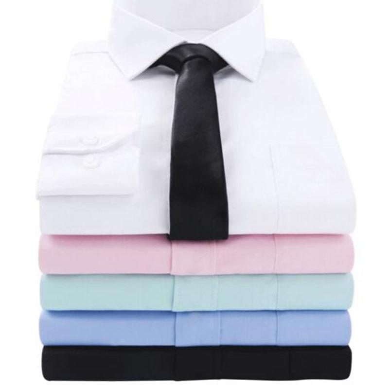 Gut Ausgebildete Männer Langarm Revers Einreiher Business Kleid Shirts Camisa Gemischt Candy Farbe Mode Atmungs Slim Fit Formale Shirts Hemden