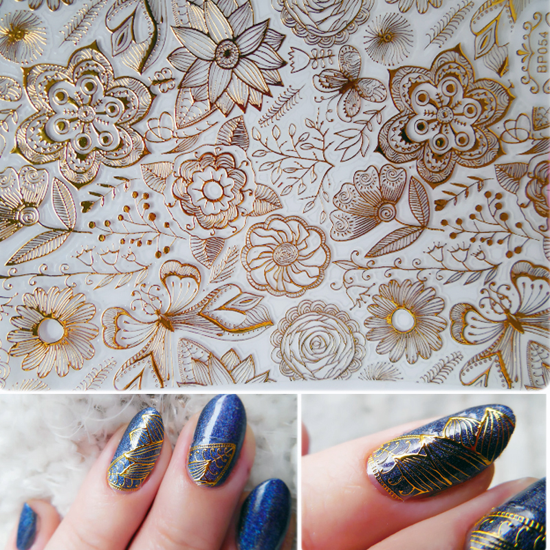 1 Sheet Embossed 3D Nail Stickers Gold Rose Flower Pattern Nail Art Decals Decoration #BP054 # 24913 3d nail stickers embossed pink flowers