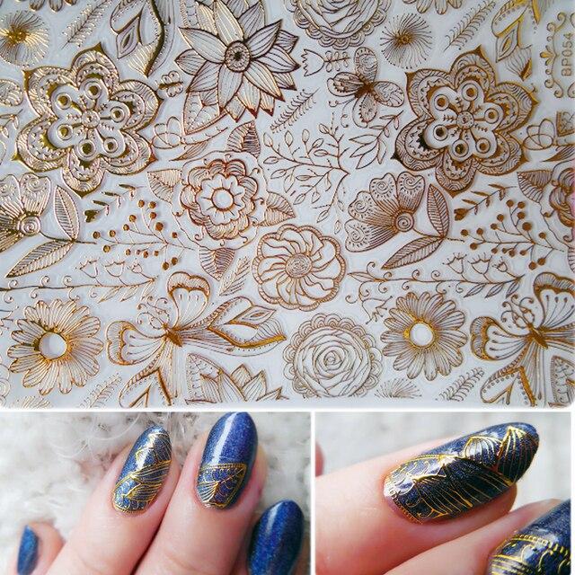 1 Sheet Relif 3d Nail Stickers Goud Rose Bloem Patroon Nail Art