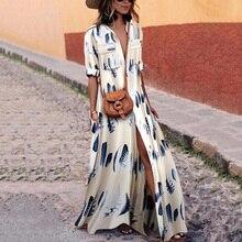 Blue Feather White Bohemian Boho Dresses Women Long Dress Summer Robe Longue Femme Plus Size 3D Pockets Maxi Dress Woman's Dress plus size brief slash pockets blue dress