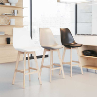 2Pcs/set Fashion Nordic Bar Stool wooden High Bar Chair Kitchen Dining Chair With Backrest Bar Stools Ship From France HWC