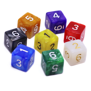10PCS D6 Drink Digital Marble Dice Set for Funny Party Club Pub Board Playing Game Accessory 8 Colors 15mm