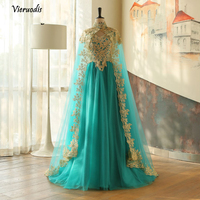 Muslim 2 Pieces Evening Dresses With Cloak Gold Appliques Moroccan Kaftan Abiye Evening Gowns Turkish Formal Dress 1