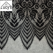 21ea08955 Double edging scallop border eyelash trimming lace fabric thick quality  1.5x3 meters/piece Lady