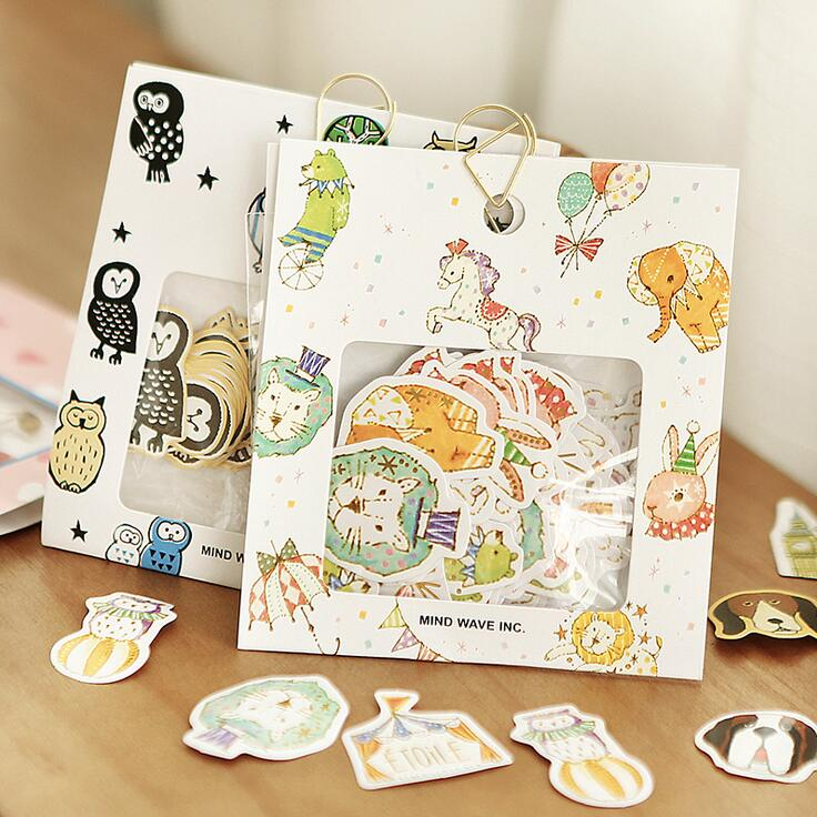 Owls Circus Troupe Animal Label Stickers Decorative Stationery Stickers Scrapbooking DIY Diary Album Stick Lable wrap around sizing label 33x32 250 stickers