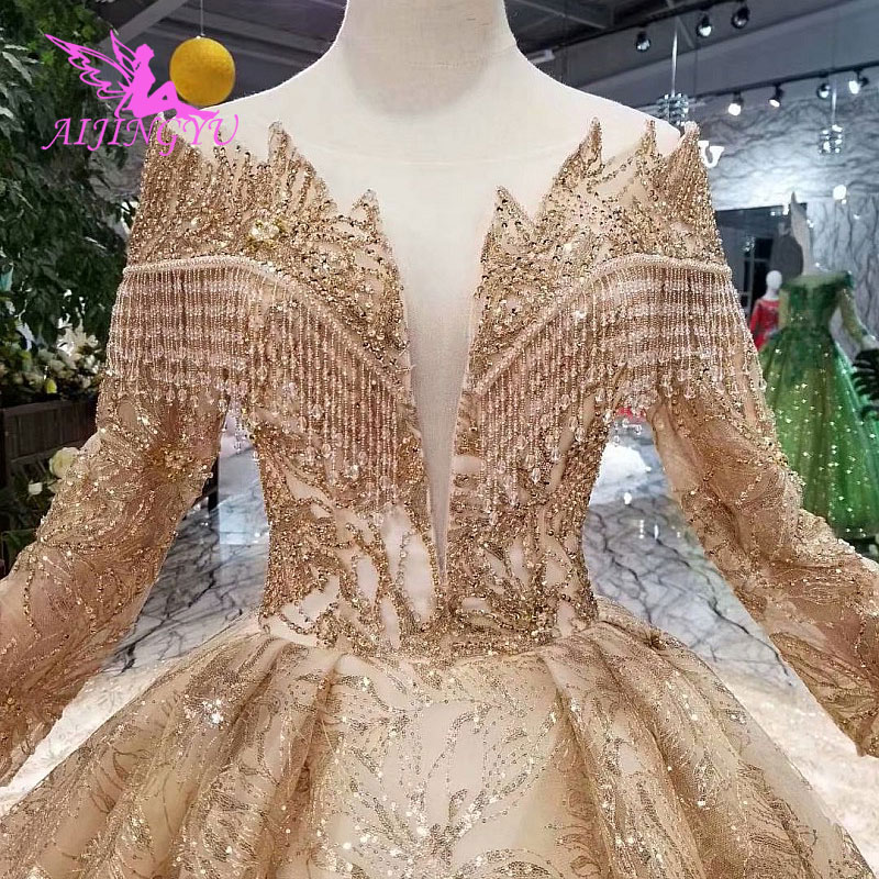 Image 5 - AIJINGYU Hand Wedding Indian Gown Lace With Long Train Crystal Boutiques Sexy Sale Plus Size Gown 2018 Bridal Party DressesWedding Dresses   -