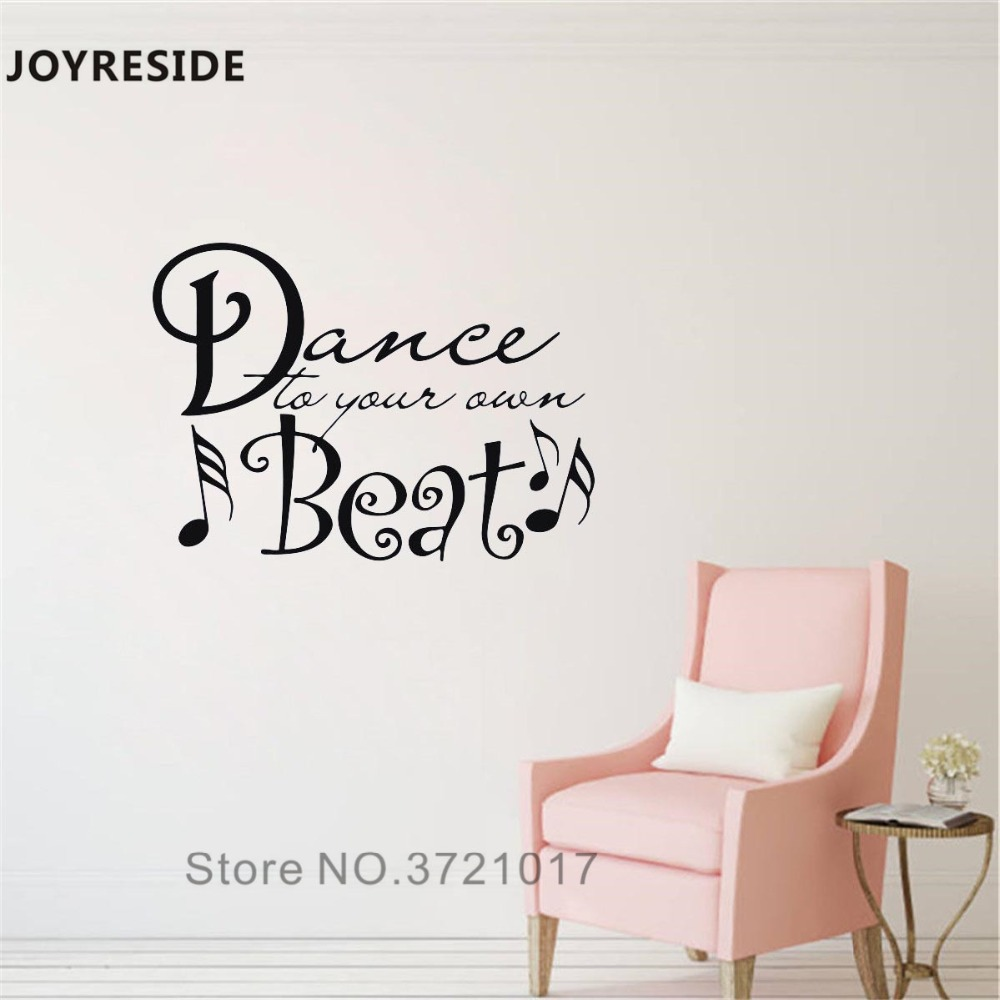 Joyreside dance to your own beat wall decal quotes wall sticker words vinyl decor home livingroom decor interior design a1005 in wall stickers from home