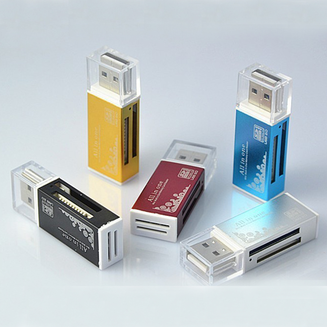 Etmakit Fashion All in One Card Reader Multi for SD SDHC MMC RS MMC TF Micro SD MS Random Color slinky and fashion for micro sd sdhc tf m2 mmc ms pro duo all in 1 usb 2 0 multi memory card reader high transmission speed