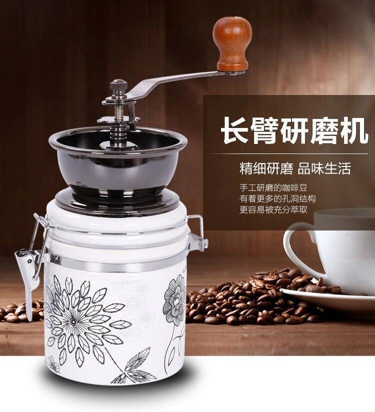 Retro coffee grinder Ceramic white jade Coffee bean grinder Hand Coffee Household grinder manual coffee grinder ceramic coffee bean grinder grinding machine jade white ceramic handset mill