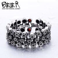 BEIER Cool Unique Heavy Metal Start Bracelet Stainless Steel High Quality Biker Punk Charm Bracelet BC8