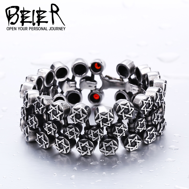 BEIER Cool Unique Heavy Metal Full Star For Man Stainless Steel High Quality Biker Punk Charm Bracelet BC8-013 opk biker stainless steel men bracelet