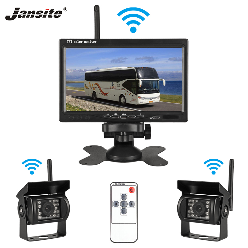 Jansite 7 TFT LCD Wireless HD Car Monitor Display Cameras Reverse Camera Parking System for Car Rear view Monitors Support BusJansite 7 TFT LCD Wireless HD Car Monitor Display Cameras Reverse Camera Parking System for Car Rear view Monitors Support Bus
