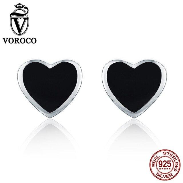 VOROCO милые маленькие серьги-гвоздики из стерлингового серебра 925 пробы с черным сердцем для женщин и девочек, ювелирные украшения oorbellen VSE112