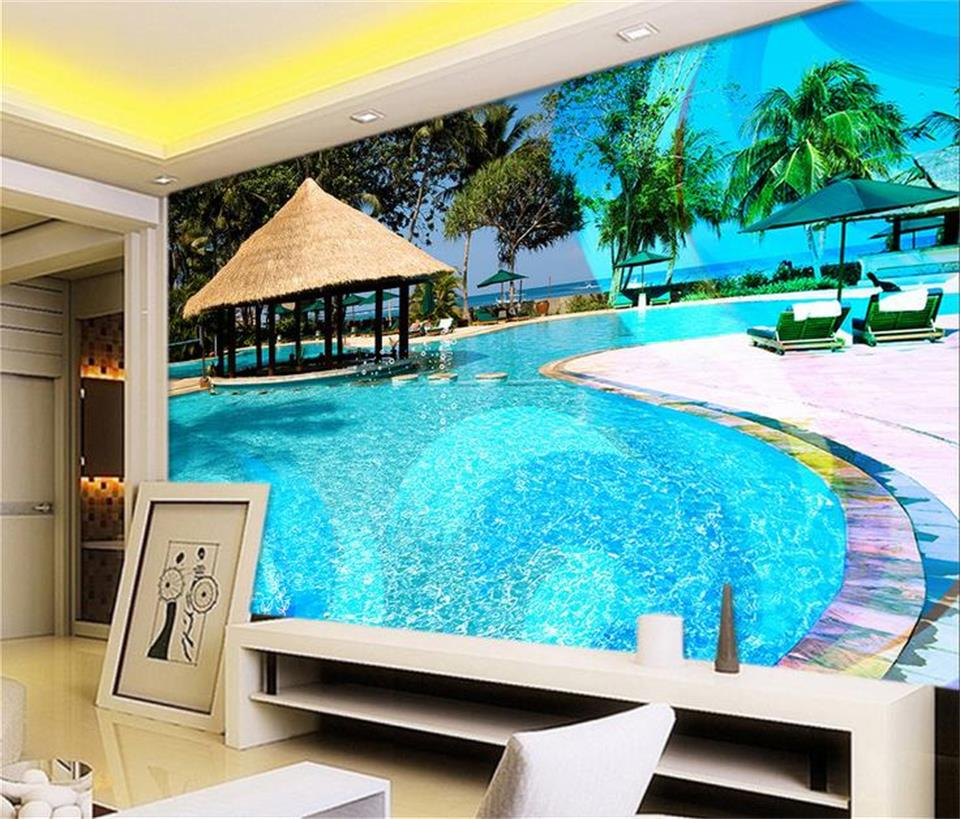 custom 3d photo wallpaper mural Swimming pool summer photo Sofa TV background wall large wallpaper Living room non-woven sticker popular large mural personality abstract modern art wallpaper sofa background ship nostalgia non woven wallpaper bedroom
