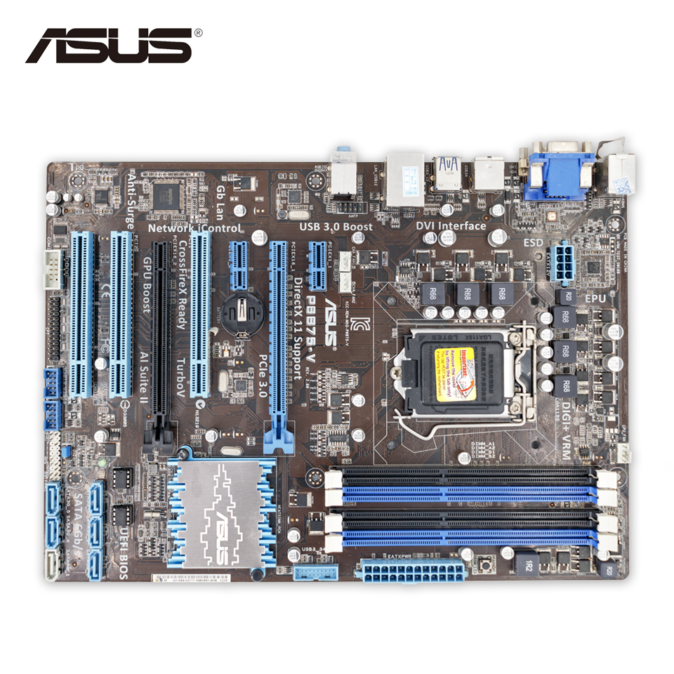Asus P8B75-V Original Used Desktop Motherboard B75 Socket LGA 1155 i3 i5 i7 DDR3 32G SATA3 USB3.0 ATX On Sale asus h61m e original used desktop motherboard h61 socket lga 1155 i3 i5 i7 ddr3 16g micro atx on sale