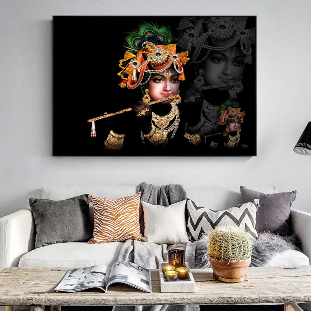 Print Art Sri Krishna Canvas Painting On The Wall Classical Hindu Gods Wall Posters And Prints Cuadros Pictures For Living Room