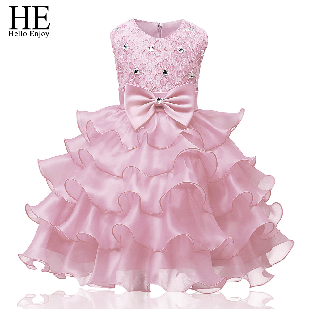 Flower girls clothes kids Lace gauze princess party costumes baby girl dress Ceremonies Birthday Baptism Cake Dresses girl dress kids clothes 2016 wl original lemon flower print a line baby girl dress children cotton princess dress girls costumes