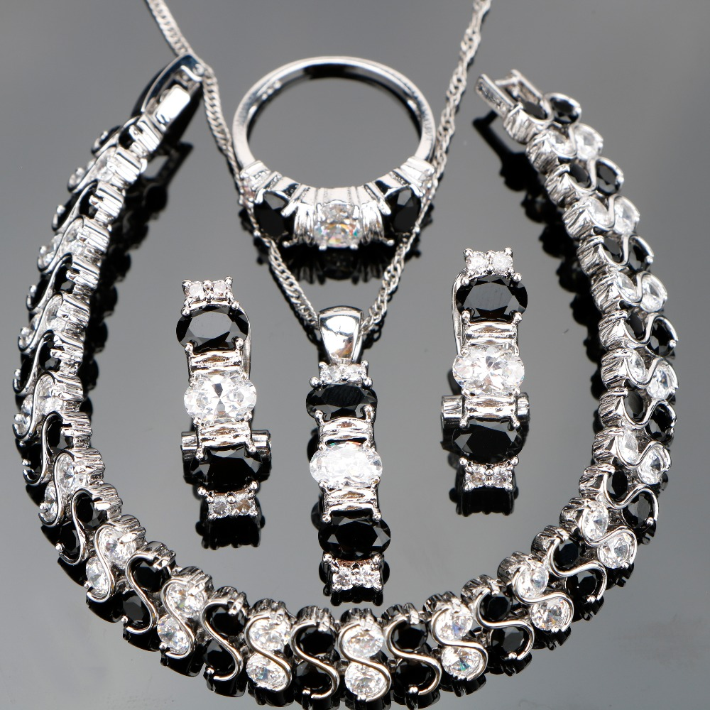 Costume Silver 925 Jewelry Sets Women Black Zircon Jewellery With Stones Earrings Bracelets Pendant Necklace Rings Set Gift Box mystic red zircon 925 silver costume jewelry sets women earrings rings pendant necklace bracelets set jewelery