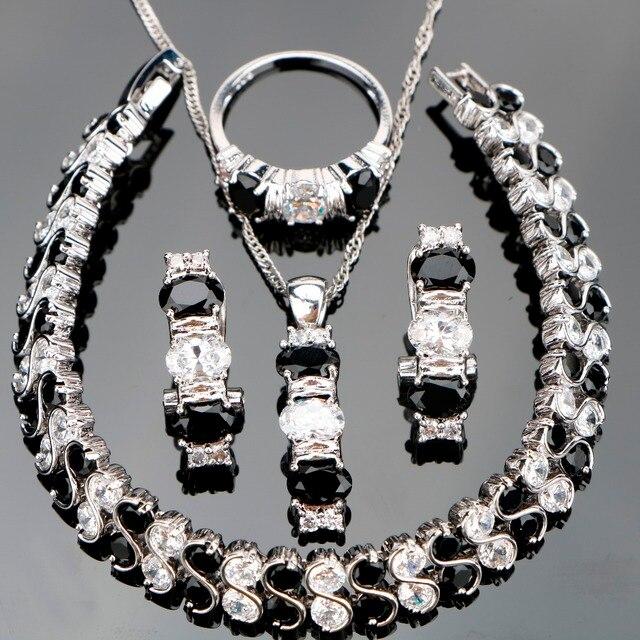 Kostüm Silber 925 Schmuck Sets Frauen Schwarz Zirkon Schmuck Mit Steinen Ohrringe Armbänder Anhänger Halskette Ringe Set Geschenkbox