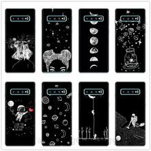 Przestrzeń dziewczyna samolot księżyc gwiazdy astronauta walentynki miękkie silikonowe etui telefon dla Samsung Galaxy S8 S9 S10 Plus s10 Lite S10E tanie tanio Galaxy S9 Plus Galaxy S7 Galaxy S7 Krawędzi GALAXY S10E GALAXY S10 LITE Galaxy S8 Plus GALAXY S10 PLUS Odporna na brud