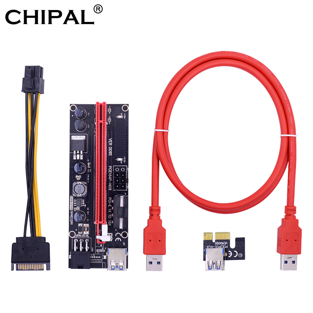 CHIPAL 10PCS 2018 New VER009S 100CM PCI E Riser Card PCIE 1X to 16X Extender with