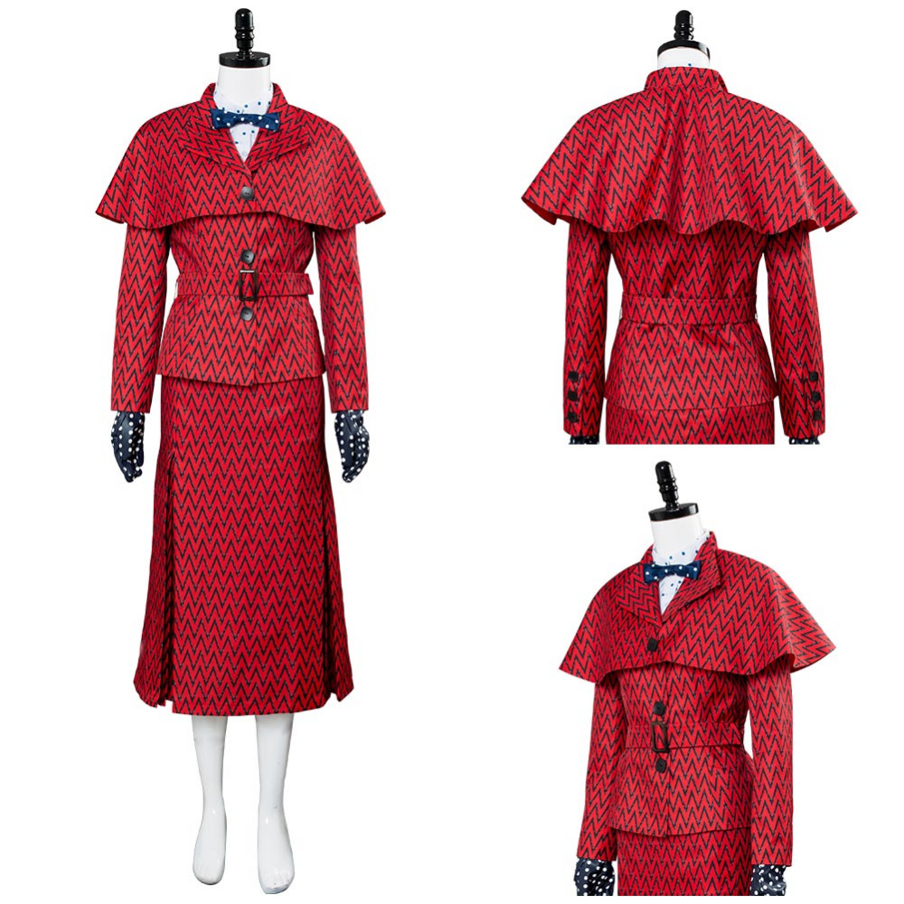 2018 Mary Poppins Returns Cosplay Mary Poppins Costume Red Suit Dress Hat Girls Women Adult Halloween Christmas Costume Full Set