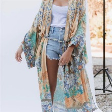 Women Floral Kimono Open Front Cardigan Maxi Dress Swimsuit Beachwear fringe trim open front kimono