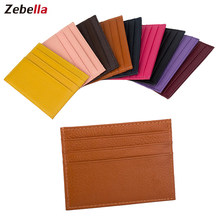 Zebella Men Women Durable Slim Simple Travel Lichee Leather Bank Business ID Card Wallet Holder Case with Coin Purse(China)
