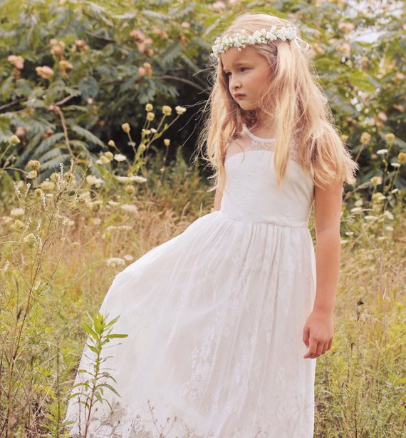 New Arrival Lace A-Line   Flower     Girl     Dresses   for Weddings Party 2019 Little   Girls   Holy First Communion Pageant Gowns with Sash