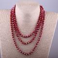 5cec1cc11afa MOODPC moda Bohemia Tribal joyería larga rojo cristal anudado largo Halsband  5X8 cristal collar